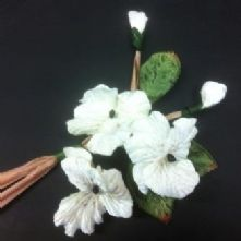 Bunch of 3 Soft Ivory Velvet Pansies with Buds
